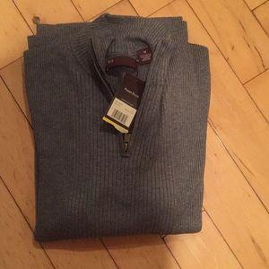 3/4 zip ribbed sweater